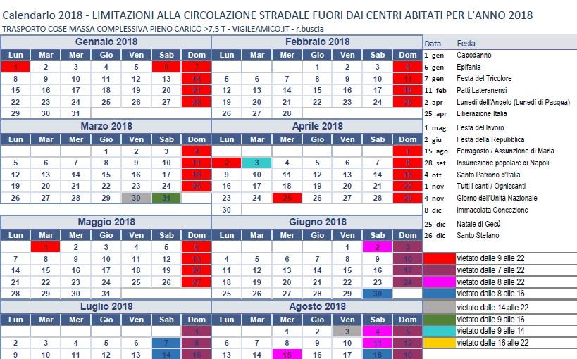 Calendario Divieto Circolazione Mezzi Pesanti.Divieto Circolazione Mezzi Pesanti 2018 Vigileamico